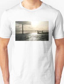 GOLDEN GATE BRIDGE WITH ALCATRAZ IN BACKGROUND Unisex T-Shirt