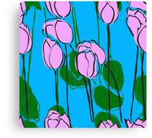 Pink Tulips Watercolor Abstract Canvas Print