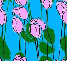 Pink Tulips Watercolor Abstract by pjwuebker