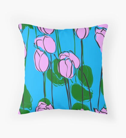 Pink Tulips Watercolor Abstract Throw Pillow