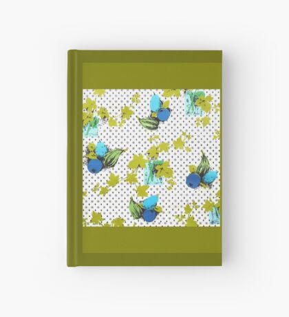 Retro Fabric Print - Ivy  or Grape Leaves and Fruit Hardcover Journal