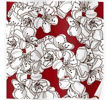 White Blossoms on Dark Red Poster