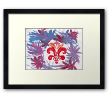 French Motif Stencil Abstract Acrylic Painting Framed Print