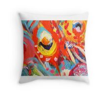 Bright Peacock Feathers Throw Pillow