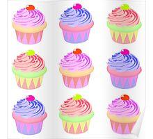 Pastel Cupcake Pattern Poster