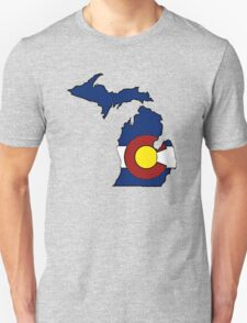 Michigan outline Colorado flag T-Shirt