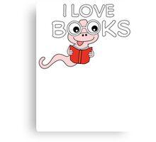 I Love Books Bookworm T Shirt Canvas Print