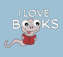 I Love Books Bookworm T Shirt by bitsnbobs