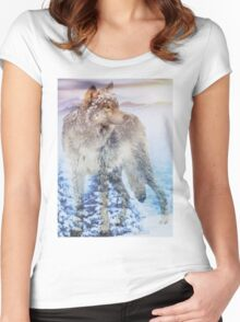 Snowy Forest Women's Fitted Scoop T-Shirt