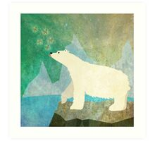 Playful Polar Bear in the Northern Lights Art Print