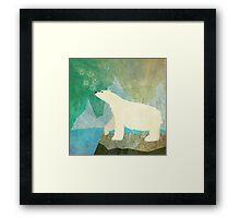 Playful Polar Bear in the Northern Lights Framed Print