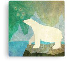 Playful Polar Bear in the Northern Lights Canvas Print