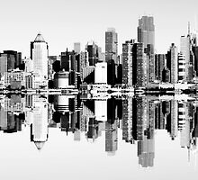 NYC Black and White Skyline Cityscape. by upthebanner