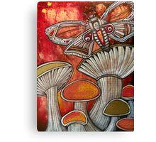Moth and Mushrooms Canvas Print