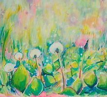 Dandelion Abstract Pastel  by Emily Louise Heard