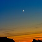 Venus and the Moon Sunset by Clayhaus