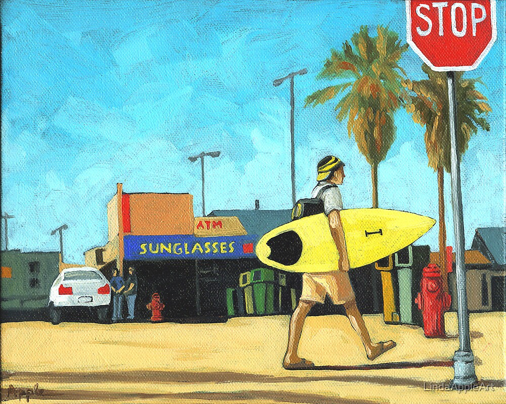 Surf and Turf - figurative oil painting by LindaAppleArt