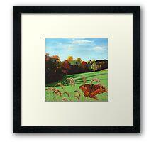 Rolling Hills - fall landscape oil painting Framed Print