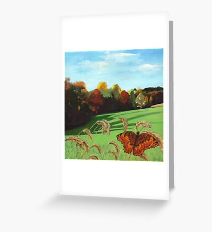 Rolling Hills - fall landscape oil painting Greeting Card