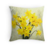 Daffodils in springtime Throw Pillow