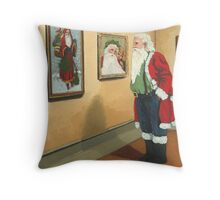 Museum Visitor - Santa Christmas Throw Pillow