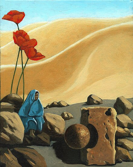 The Meeting - surreal,fantasy oil painting by LindaAppleArt