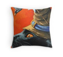 Witch Cat Throw Pillow