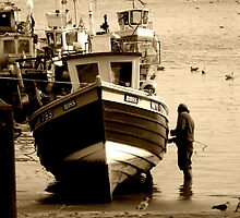 Boat Painting - Scarborough Harbour by charlylou