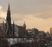 Edinburgh City Centre Winter scene by wjohnd