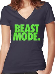 BEAST MODE. - Electric Green Women's Fitted V-Neck T-Shirt