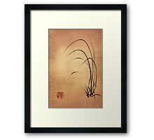 Lyrical Dreams - original sumie ink brush pen Zen drawing by Rebecca Rees Framed Print