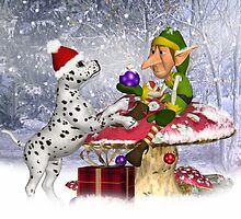 """Want this boy?"" Dalmatian Puppy With Elf Card by Moonlake"