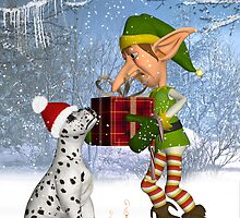 """Lets put this under the tree"" Dalmatian Puppy With Elf by Moonlake"