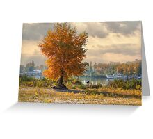 Magic fall on the river bank Greeting Card