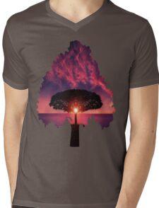 Sunset Tree Mens V-Neck T-Shirt