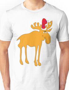Elk big in the Christmas hat  Unisex T-Shirt