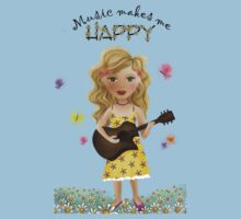 Music makes me HAPPY Kids Clothes