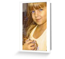"""Tay with Her Precious Hamster Angel""  Greeting Card"