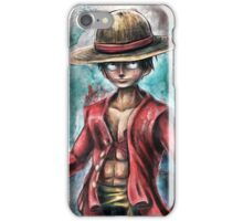 The King of Pirates a Tra-Digital Portrait of Luffy iPhone Case/Skin