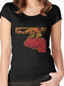 Dilophosaurus Duo - Orange and Red Women's Fitted Scoop T-Shirt