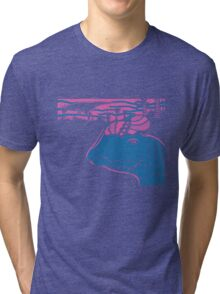 Dilophosaurus Duo - Magenta and Blue Tri-blend T-Shirt