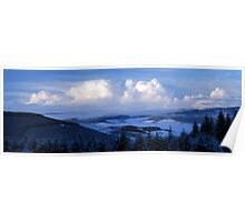 Snow Panorama from Cardrona over Tweed Valley(Near Peebles) Poster