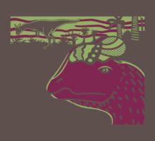 Dilophosaurus Duo - Green and Purple by David Orr