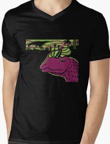 Dilophosaurus Duo - Green and Purple Mens V-Neck T-Shirt
