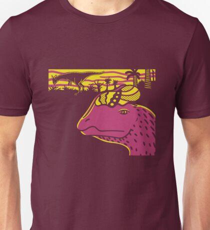Dilophosaurus Duo - Yellow and Pink Unisex T-Shirt