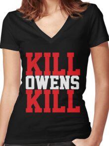 Kill Owens Kill (Red/White) Women's Fitted V-Neck T-Shirt