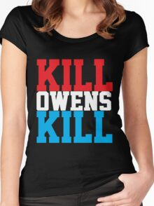 Kill Owens Kill (Red/White/White) Women's Fitted Scoop T-Shirt
