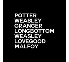 Potter Group Names Photographic Print