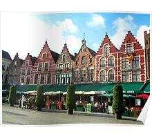 Town Square in Bruges, Belgium Poster