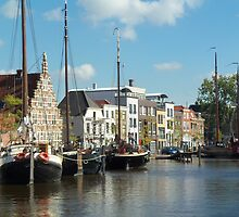 Boats on canal in Leiden, The Netherlands by Nick Winwood
